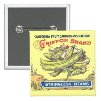 Griffon Brand Beans - Vintage Label Button