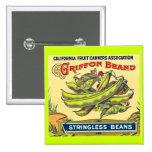 Griffon Brand Stringless Beans - Vintage Label Pinback Button
