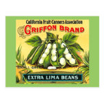 Griffon Brand  Vintage Crate Label Lima Beans Postcard
