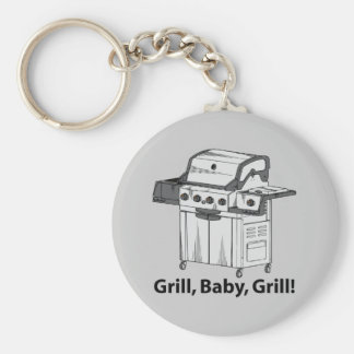 Grill, Baby, Grill! Basic Round Button Keychain