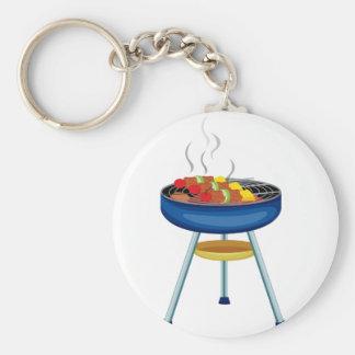 Grill Basic Round Button Keychain