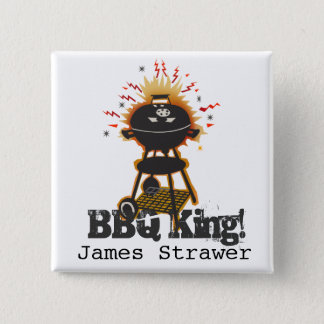 Grill Cooking Grilling Name BBQ King Pinback Button
