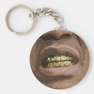 Grill Face #2-- T-Shirt Basic Round Button Keychain