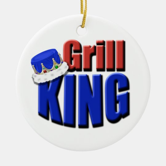 Grill King Barbeque Gift Ceramic Ornament