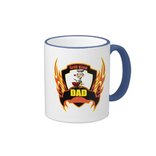 Grill King Fathers Day Gifts Ringer Coffee Mug