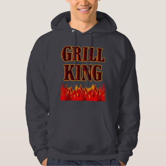 Grill King Red Flames BBQ Saying Hoodie