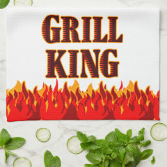 Grill King Red Flames Kitchen Towel