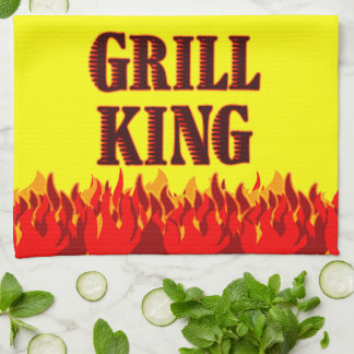 Grill King Red Flames Yellow Kitchen Towel