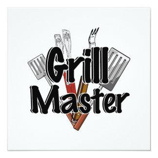 """Grill Master con las herramientas del Bbq Invitación 5.25"""" X 5.25"""""""