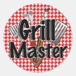 Grill Master con las herramientas del Bbq Pegatinas Redondas