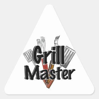 Grill Master con las herramientas del Bbq Pegatina Triangulo Personalizadas