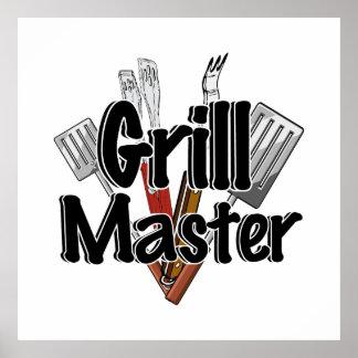 Grill Master con las herramientas del Bbq Póster