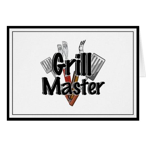 Grill Master con las herramientas del Bbq Tarjeta De Felicitación