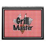 Grill Master con las herramientas y la mesa de pic Calendario