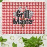 Grill Master con las herramientas y la mesa de pic Toallas