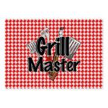 Grill Master con las herramientas y la mesa de pic Tarjetas Personales