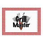 Grill Master con las herramientas y la mesa de pic Tarjeta De Visita