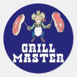 Grill Master Cowboy Classic Round Sticker