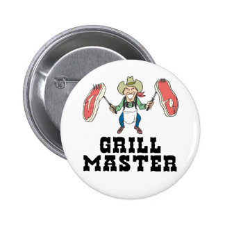 Grill Master Cowboy Pinback Button