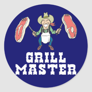 Grill Master Cowboy Classic Round Sticker