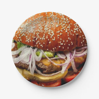 grill master father's day hamburger cheeseburger paper plate