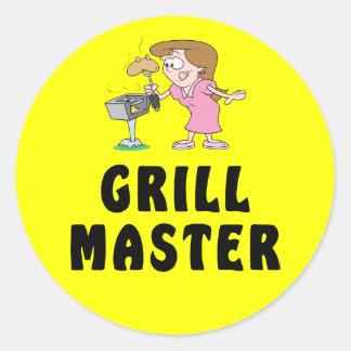 Grill Master Female Classic Round Sticker
