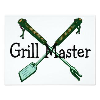 """Grill Master 4.25"""" X 5.5"""" Invitation Card"""