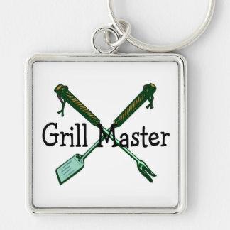 Grill Master Llavero Cuadrado Plateado