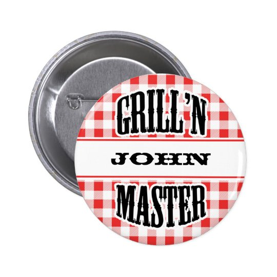 Grill Master Name Personalized Badge Tag Pinback Button