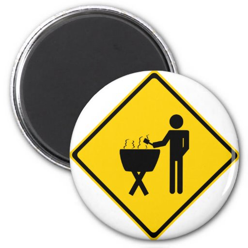 Grill Master Road Sign 2 Inch Round Magnet