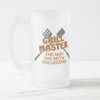 GRILL MASTER - THE MAN THE MYTH THE LEGEND 16 OZ FROSTED GLASS BEER MUG