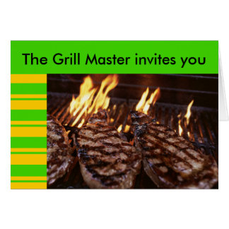 Grill Master Tiki Party Barbeque invitation Greeting Cards