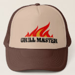"Grill master trucker hat with burning flames<br><div class=""desc"">Grill master trucker hat with burning flames Cool barbecue gift idea for men who love BBQ cooking outdoors. Personalize it for chef dad,  grandpa,  uncle etc.</div>"