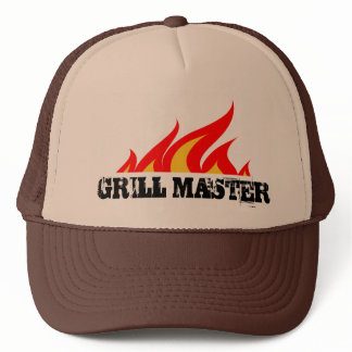 Grill master trucker hat with burning flames