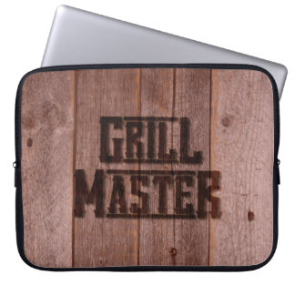 Grill Master Western Branding Iron on Wood Laptop Sleeve