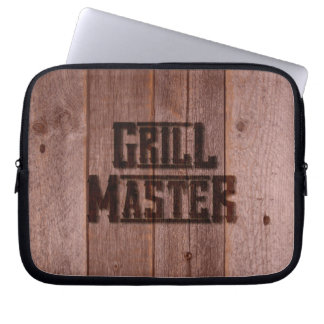 Grill Master Western Branding Iron on Wood Laptop Sleeves