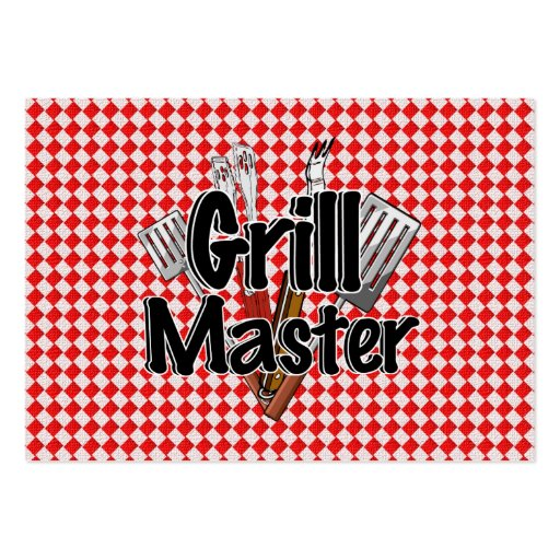 Grill Master with BBQ Tools & Picnic Table Business Cards