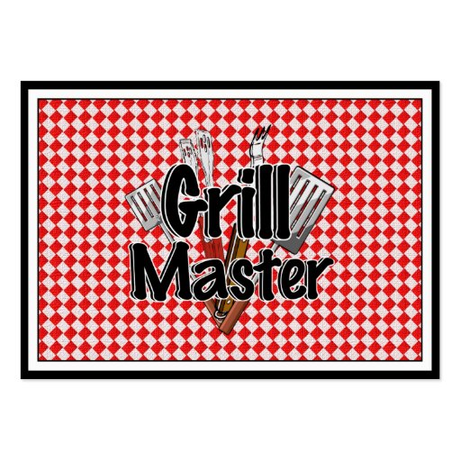 Grill Master with BBQ Tools & Picnic Table Business Card