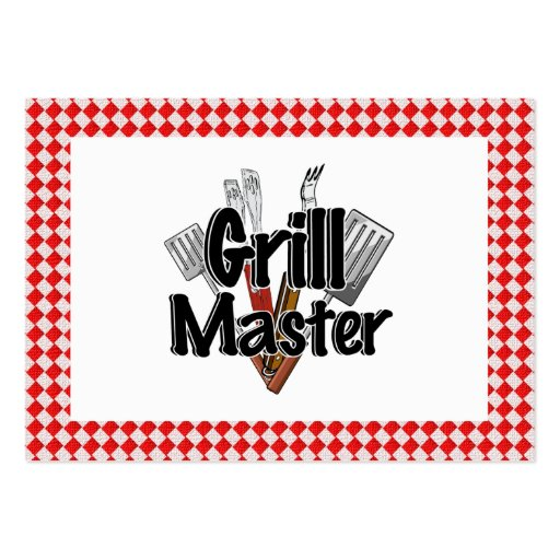 Grill Master with BBQ Tools & Picnic Table Business Card Templates
