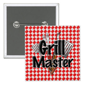 Grill Master with BBQ Tools & Picnic Table Pinback Button