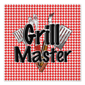 Grill Master with BBQ Tools & Picnic Table Card
