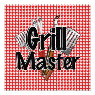 Grill Master with BBQ Tools & Picnic Table Personalized Invitations