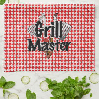 Grill Master with BBQ Tools & Picnic Table Kitchen Towel
