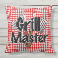 Grill Master with BBQ Tools & Picnic Table Outdoor Pillow