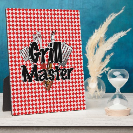 Grill Master with BBQ Tools & Picnic Table Photo Plaques
