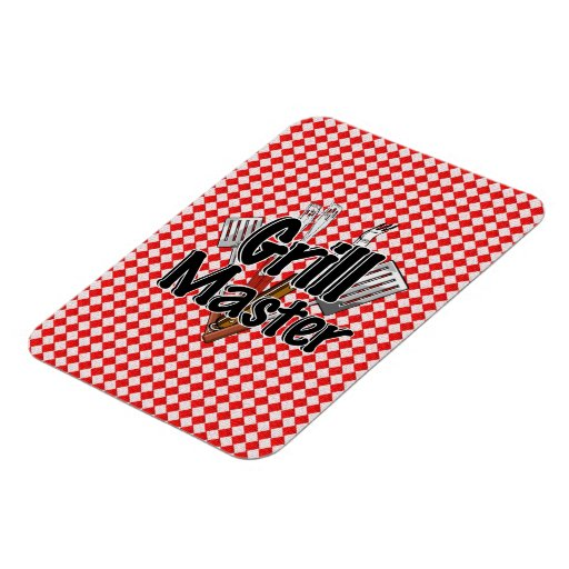 Grill Master with BBQ Tools & Picnic Table Rectangular Photo Magnet
