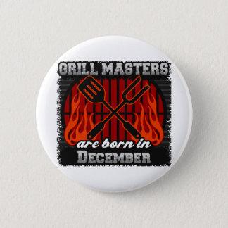 Grill Masters Are Born In December BBQ Birthday Button