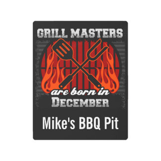 Grill Masters Are Born In December Personalized Metal Print