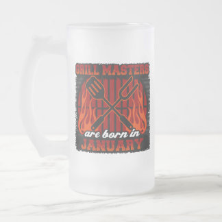Grill Masters Are Born In January Frosted Glass Beer Mug