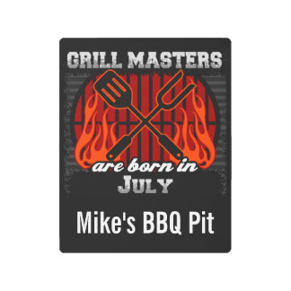 Grill Masters Are Born In July Personalized Metal Print